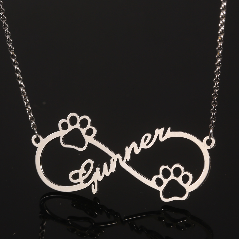 925 Silver Infinity Personalized Name Necklace Women Necklaces & Pendants Dog Footprint Custom Name Necklace Gift Dropshipping  (1)