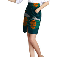 Tailor Custom African Fashion Front Kick Pleat Womens Skirt Colorful African Print Element Dashiki Clothing