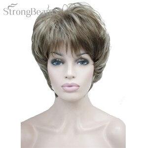 Image 5 - Forte di Bellezza Femminile Parrucche Sintetiche Breve Onda Del Corpo Bionda Argento Marrone Parrucca Per Le Donne Nere