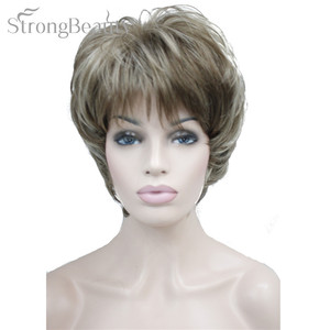 Image 5 - Strong Beauty Female Wigs Synthetic Short Body Wave Blonde Silver Brown Wig For Black Women