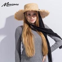 21edd8579e5 Handmade Weave Raffia Sun Hats for Women Black Ribbon Lace Up Large Brim  Straw Hat Outdoor