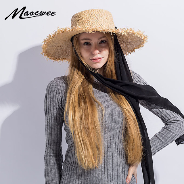 Handmade Weave Raffia Sun Hats for Women Black Ribbon Lace Up Large Brim  Straw Hat Outdoor c814e124c405