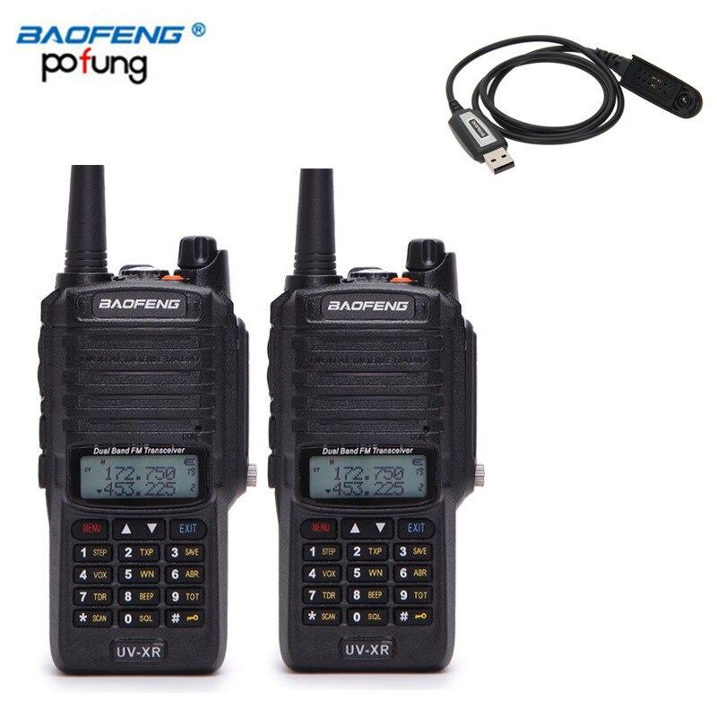 2PCS Baofeng UV-XR 10W High Power 4800Mah Battery IP67 WaterProof Antidust Dual Band Walkie Talkie + Programming Cable