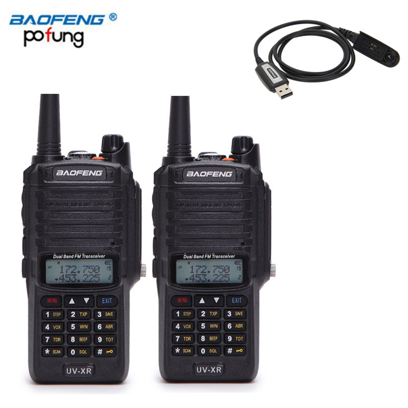 2PCS Baofeng UV-XR 10W High Power 4800Mah Battery IP67 WaterProof Antidust Dual Band Walkie Talkie + Programming Cable