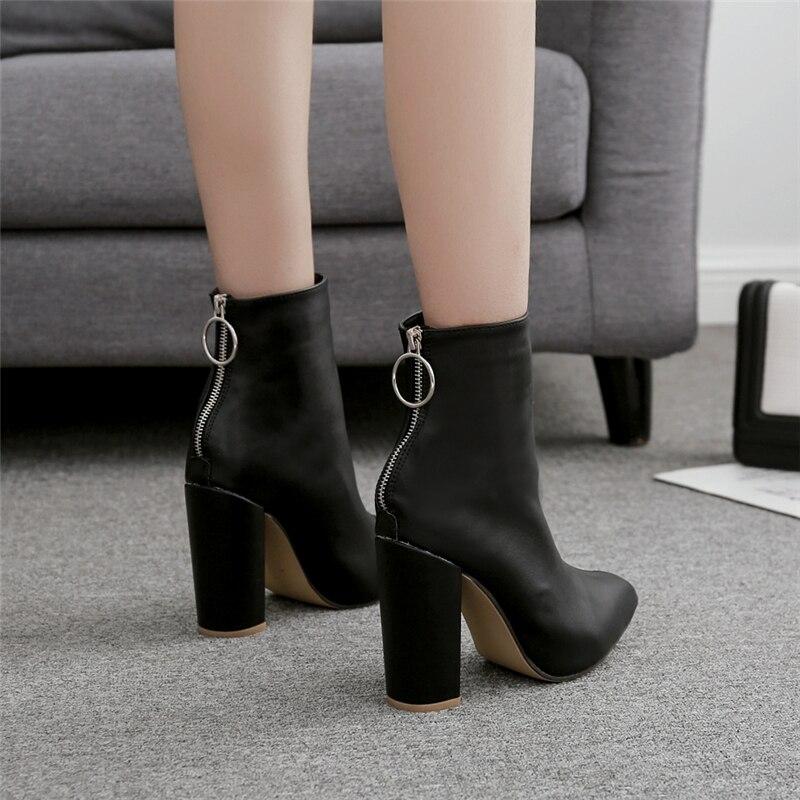 Image 5 - 2019 модные роскошные женские туфли на высоком каблуке 10,5 см; носки Фетиш; кожаные белые ботильоны на блочном каблуке; Scarpins; обувь на массивном каблуке; YMN 36-in Полусапожки from Обувь