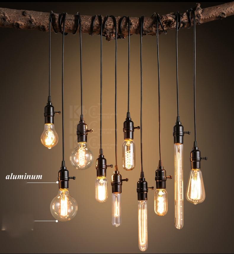 רטרו שחור אור לופט תליון יצירתי מסעדה בר אור הנורה אחת אמריקאי תעשייתי בית תאורת סלון קפה