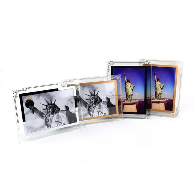 5/7 Inch Tabletop Glass Photo Frames Gold Silver Lace Border Craft ...