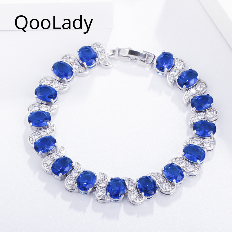 QooLady Trendy Blue Cubic Zirconia Stone Elegant Round Wedding Party Bracelets Bangles AAA CZ Jewelry Accessories for Women S004 in Chain Link Bracelets from Jewelry Accessories