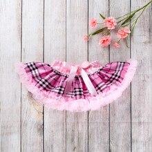 079ebb060 Falda tutú de tela escocesa rosa para niña vestido de baile para infantes  con encaje Pettiskirt faldas de moño para recién nacid.