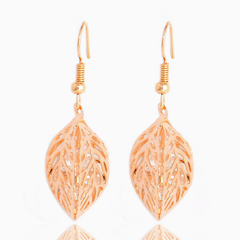 H:HYDE 1SET Fashion Womens Gold Color Classic Hollow Leaf Austria Crystal Necklace Earrings Wedding Jewelry Sets Wholesale 6