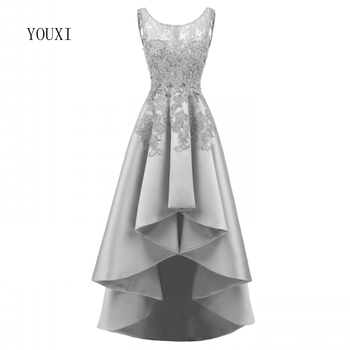 Sexy Asymmetrical Evening Dresses 2019 Satin Lace Appliques Prom Gowns Beaded Banquet High Low Formal Dresses
