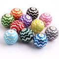 20mm Christmas Newest 100pcs random mixed color Zig Zag wave Chevron Print Acrylic Pearl Beads for Kids Chunky Necklace Jewelry