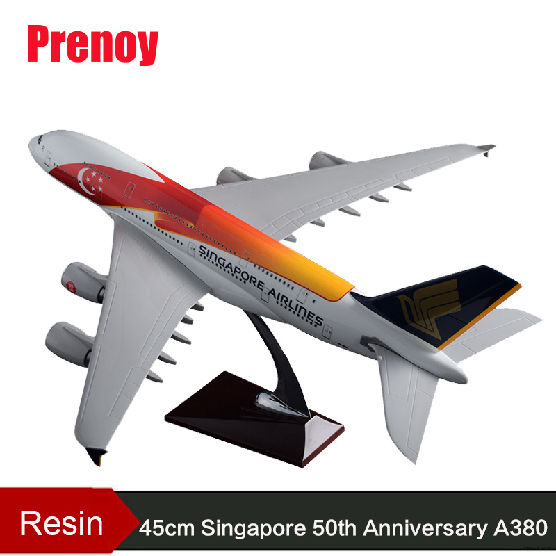 45cm Resin Singapore Airbus Model A380 Airlines 50th Anniversary Color Painting Aircraft Airplane Model Singapore 50 A380 Airway phoenix 11189 china eastern airlines b 8231 50th 1 400 a330 200 commercial jetliners plane model hobby