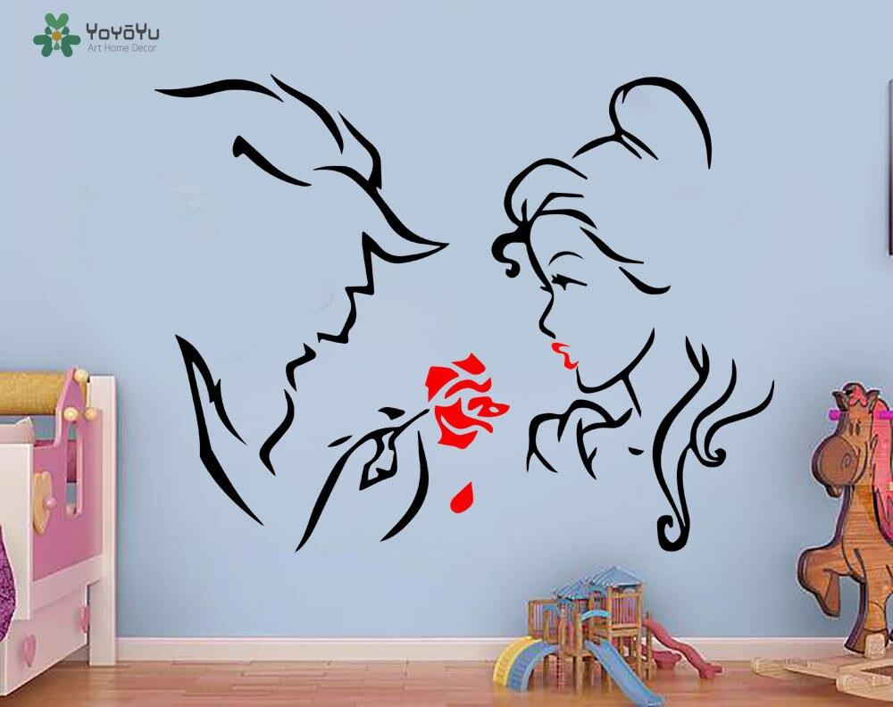 YOYOYU Beauté et Bête Stickers Muraux Pour Enfants Chambres Bébé Chambre de bébé Chambre Sticker Bande Dessinée Intérieur Décor À La Maison MuralSY501