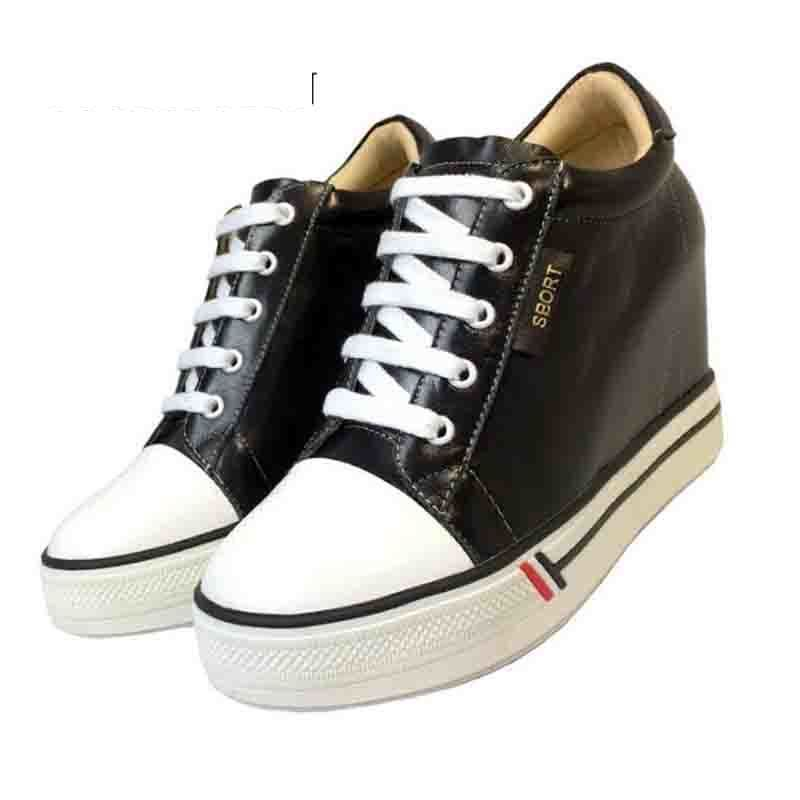 Chaussures à plate-forme en cuir véritable femmes 2018 printemps automne plate-forme à lacets chaussures compensées cachées blanc noir talons baskets femmes