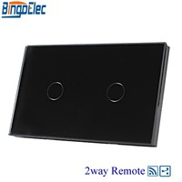 AU US Standard AC110 240V Bingoelc Black Glass Panel 2gang 2way Touch Remote Switch 433mhz 110