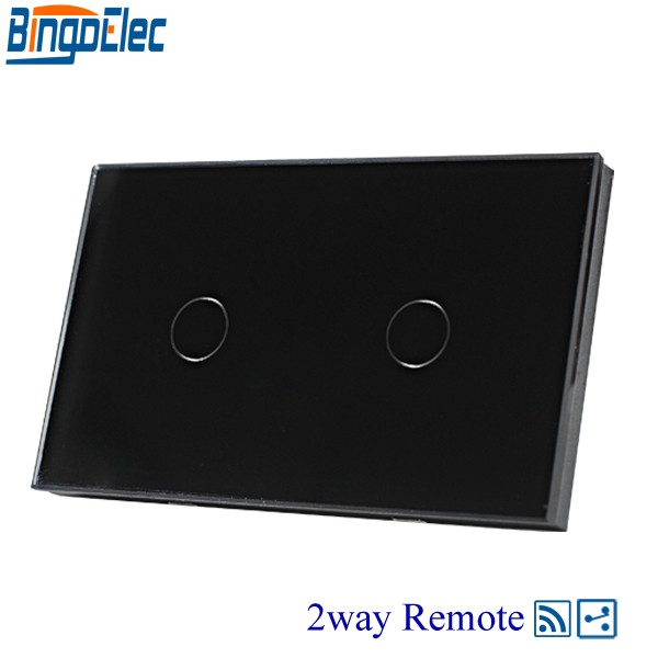 AU/US Standard AC110-240V Bingoelc Black Glass Panel 2gang 2way Touch Remote Switch, 433mhz,110-240V,Remote Wall light switch. smart home us au wall touch switch white crystal glass panel 1 gang 1 way power light wall touch switch used for led waterproof