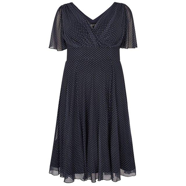 Kissmilk Plus Size Women Office Lady Casual Dot Print Deep V Neck Short Sleeve High Waist  Wrinkle Hem A Line Midi Dress 5