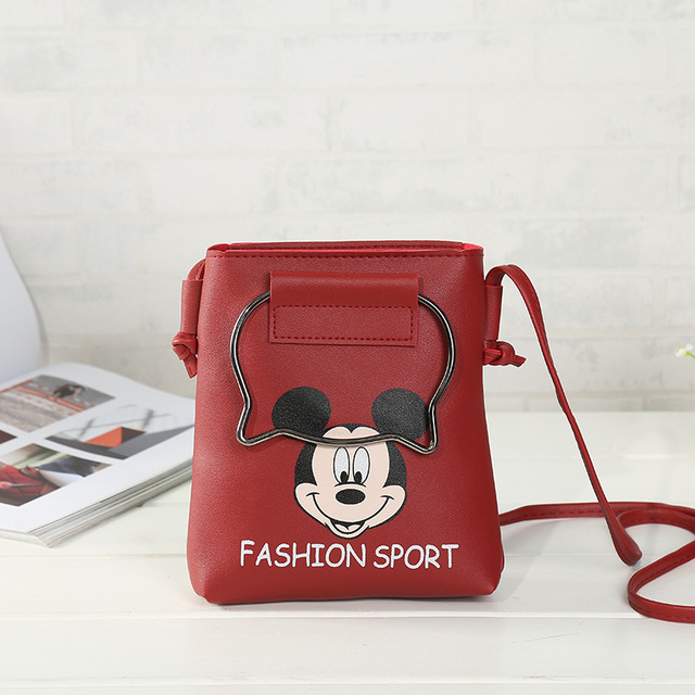 Baby Care Nappy Changing Disney Mickey Mouse Cartoon Shoulder Mini Bag Girl Bag Messenger Mobile Phone Bag Clutch Bag Lady Lovely Handbag Purse Coin