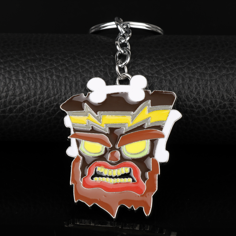 Hot Online Wholesale Game Crash Bandicoot Game Keychain Jewelry Cartoo Pendant Keyring Key Chains for Men Bags Car Key Xmas Gift