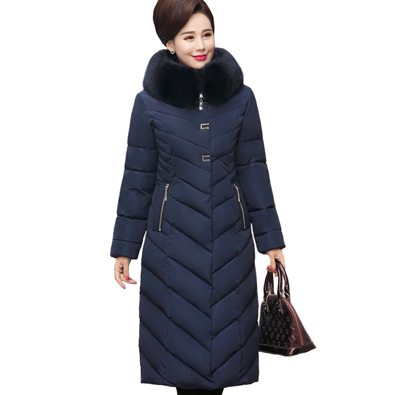 2019 Winter Jacket Women Plus Size 5XL Middle aged Womens Parkas Thicken Warm Hooded Coats Long