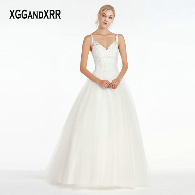 6b8595851bd Amazing A Line Wedding Dress 2019 Sexy Corset Back V Neck Backless Best  Price Bridal Gown Tulle Lace Applique Long Bride Dress
