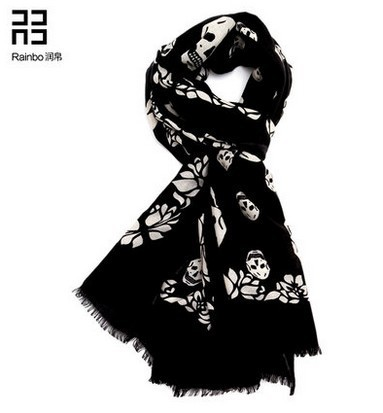 Big Promotion!Black female skull wool winter scarf shawl 2015 new autumn and winter fashion wild European stations BY005