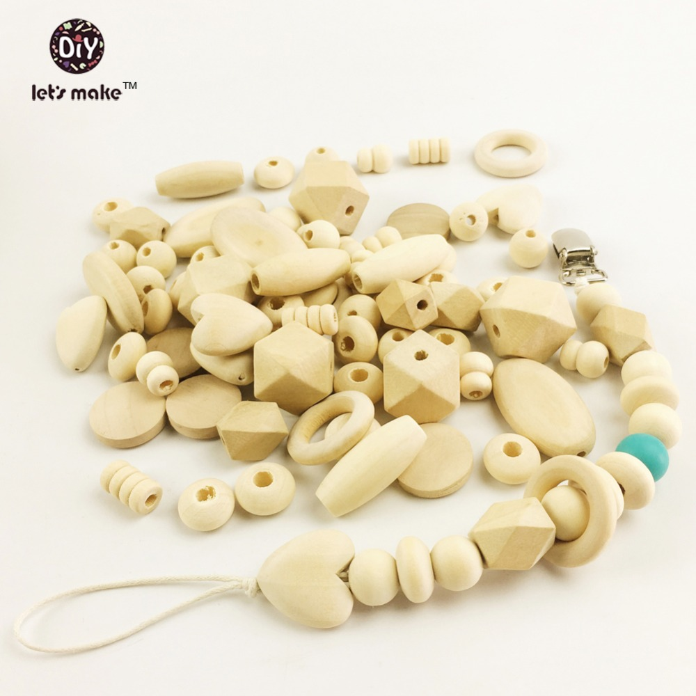 Let's Make 150pc Block Wood & Wooden Beads Diy Pacifier Clip 10 Style Natural Wood Organic Baby Teether Beads
