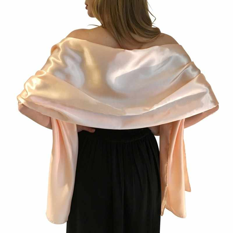 7b78a52669c1e Elegant women Satin wrap shawl Evening party wrap Bridal Wedding shawl wrap  2 size available Free shipping OEM order accepted