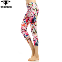 New Style Yoga Leggings Elasticity Quick Dry Running Tights Women's Printed Fitness Training Spirts Leggings Yoga Pants