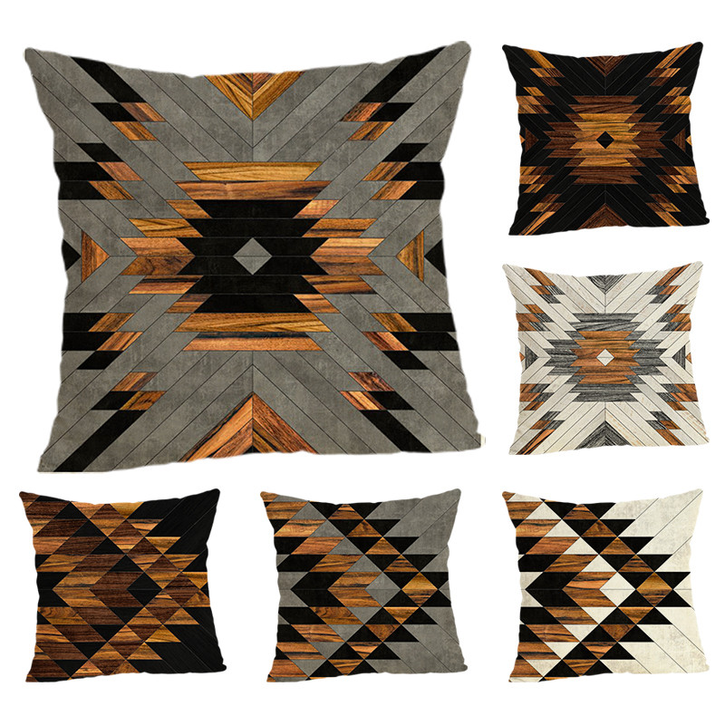 Geometric Element Cushion Covers  Home Decoration 45x45 Decorative Beige Linen Pillow Case