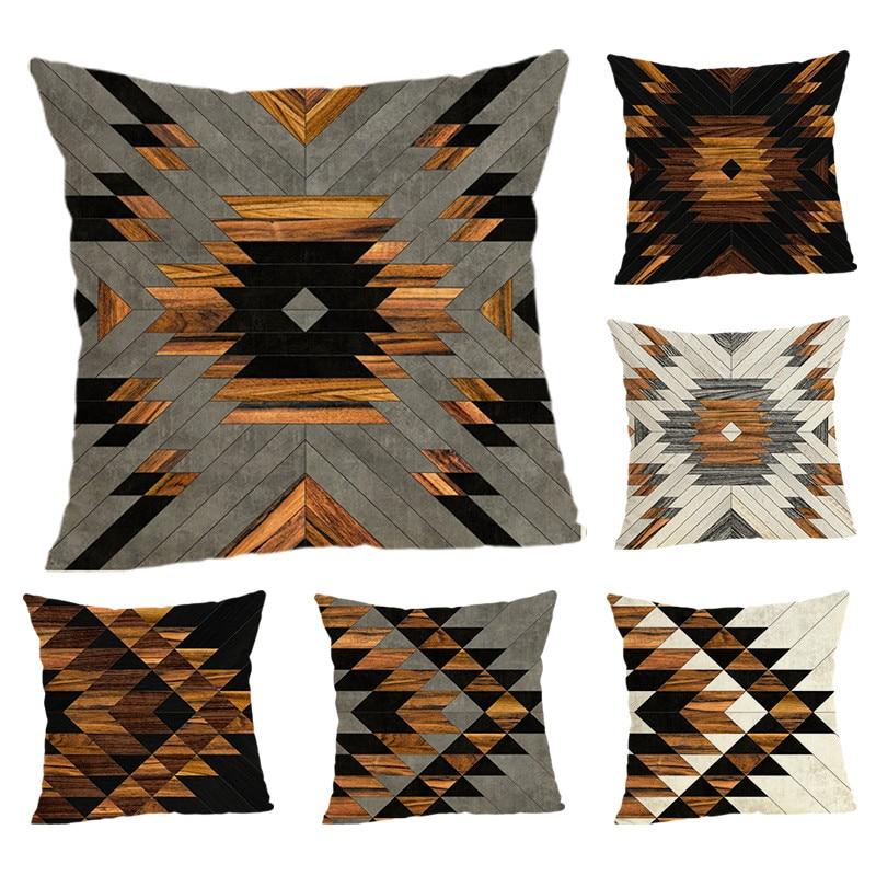 Geometric Element Cushion Covers  Home Decoration 45x45 Decorative Beige Linen Pillow Case