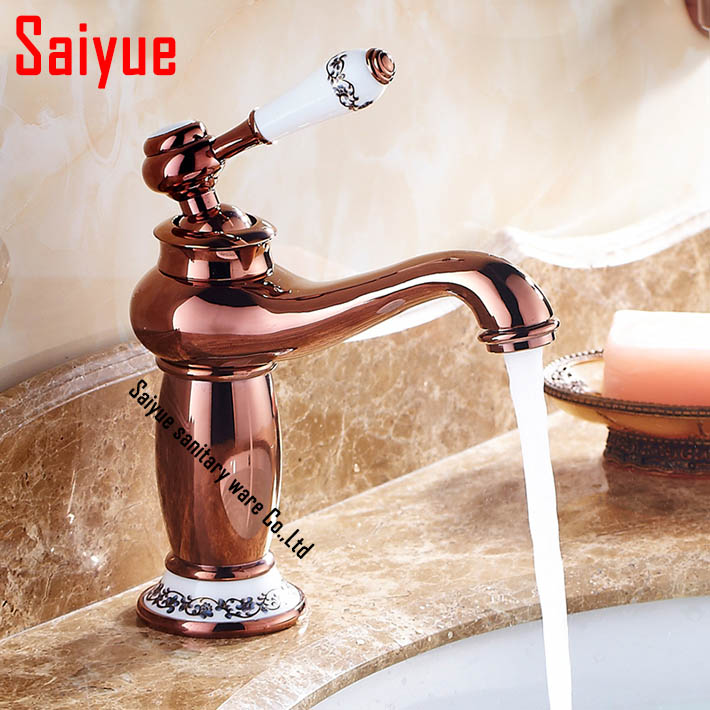 Bathroom basin sink faucets mixer brass faucet porcelain mixer tap chrome antique rose gold oil for Gold and chrome bathroom faucets
