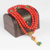 Sennier 108 coral vermelho pulseira de pedra natural contas mala colar oração budista rosário strand pulseiras buda meditação