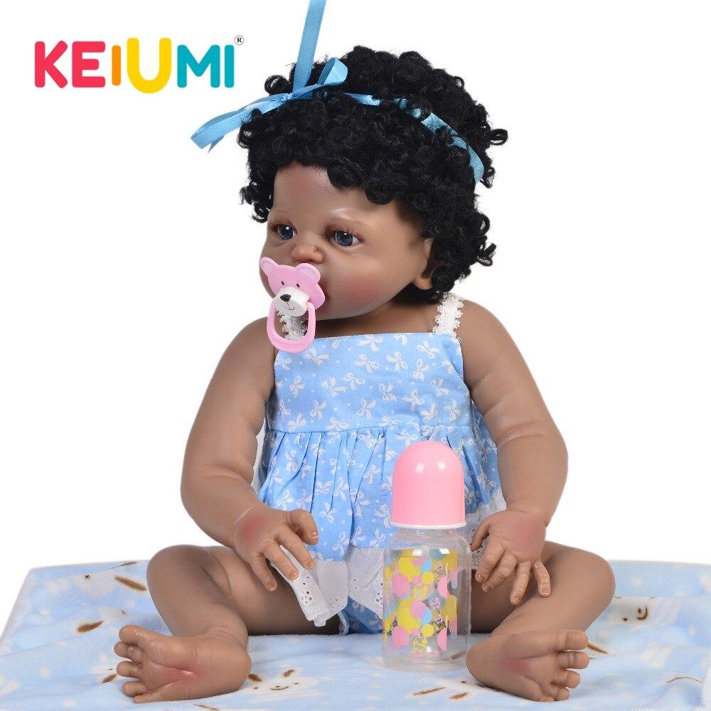 Lifelike 23 Reborn Girl Black Princess Toys Full Silicone Body Ethnic Dolls Reborn Baby Curved Hair