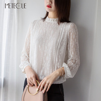 Cross Stitch Hollow Out Ruffles Stand Collar White Blouse Pearl Button Women Shirts Womens Tops And