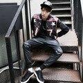 2015 New Hip hop dos homens calças de couro falso moda moletom homem motocicleta corredores Casual preto PU calças festa Casual Pant