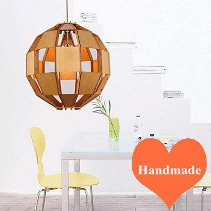 Classique conception plis copeaux de bois lustre fait main e27 led accrocher lampe lampe intérieure pour les escaliers et bar et café et salon et porche