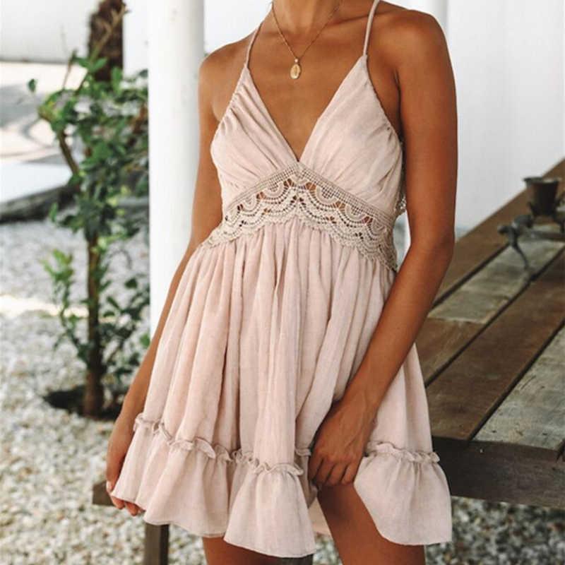 Femmes d'été robe d'été 2019 Sexy dos nu v-cou robes de plage sans manches Spaghetti sangle blanc Boho Mini robe Vestidos