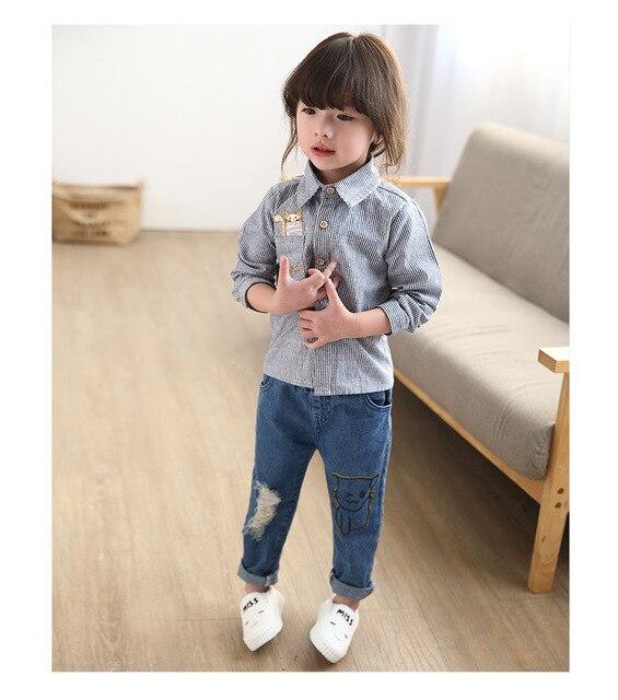 2016 Корейских девушек денима Брюки весна модели маленьких детей карандаш брюки ноги штаны мультфильм печатает