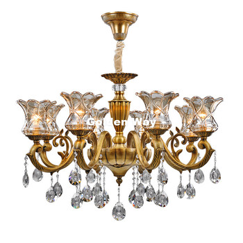 D720mm H500mm Bronze Material K9 Crystal Chandelier Lighting Luxurious Brass Crystal Lamp Lustre Suspension Light Free Shipping