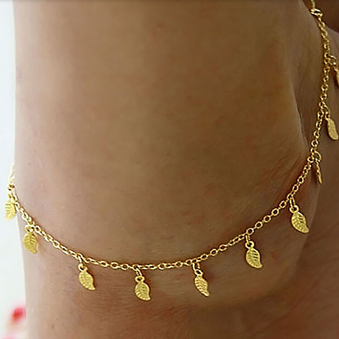 Fine Sexy Anklet Style Gold Leaves Ankle Bracelet Barefoot Sandals Foot Jewelry Leg Chain On Foot For Women