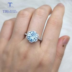 Image 4 - TBJ, רומנטי טבעת עם טבעי שמיים כחול טופז טופז כדורגל לחתוך חן טבעת 925 כסף בסדר תכשיטי עבור בנות כמו מתנה