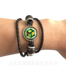 Sacred Geometry Antahkarana Symbol Bracelet Adjustable Leather Bangle For Wome Men Chakra Meditation Fashion Jewelry Gift(China)