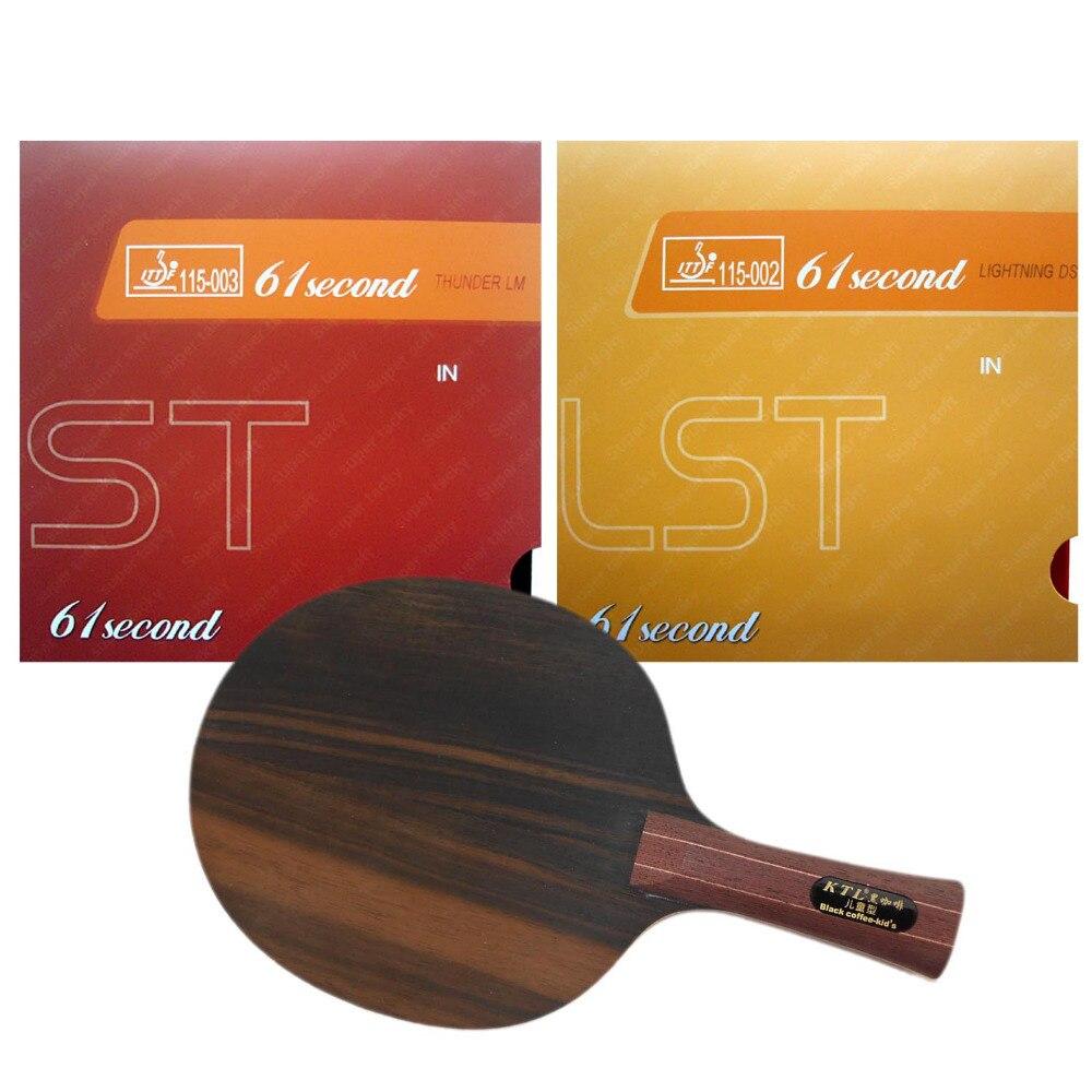 Pro Combo Racket KTL Ebony 5 Kanak-kanak kopi hitam Shakehand dengan Lightning DS LST dan LM ST ShakehandLong Handle FL