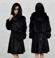 2020 Newest Womens Hooded Long Section Black/White Fake Fur Jackets Casual Faux Fur Overcoats Plus Size Fur Outwear Jackets K515
