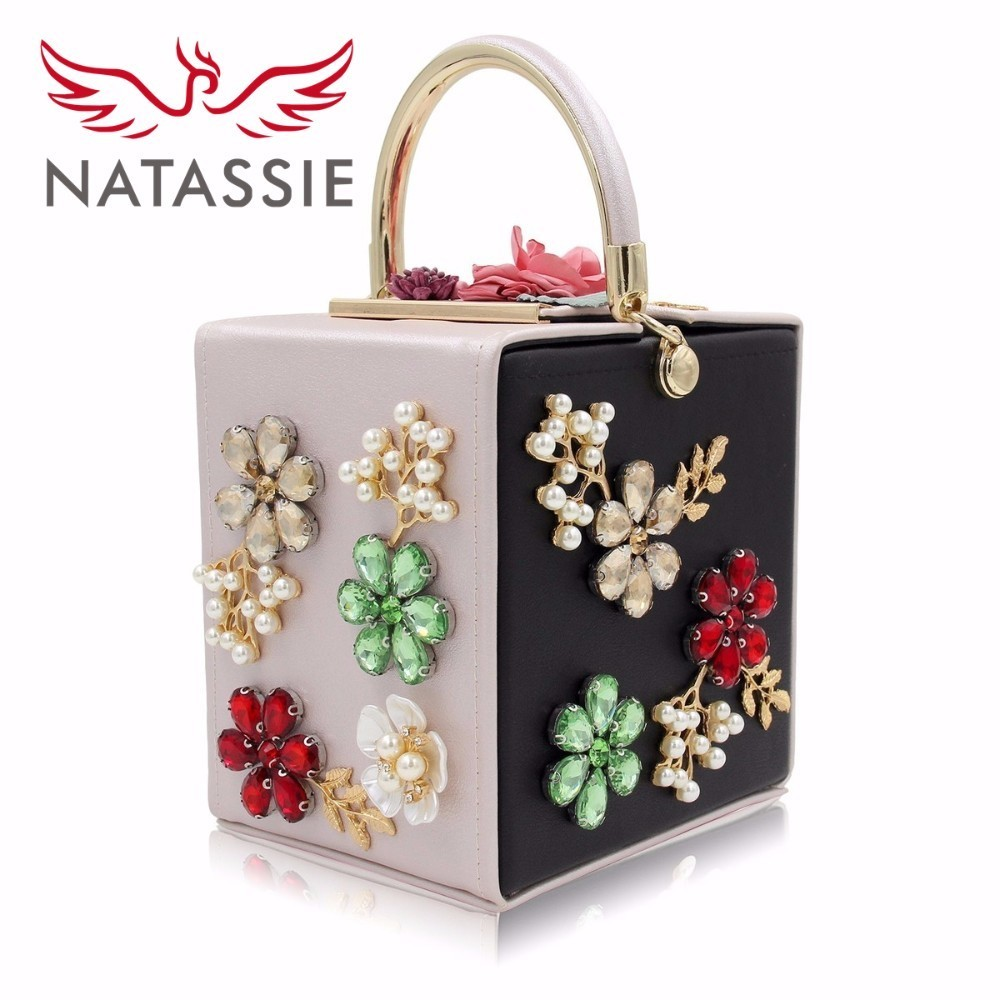 Natassie Women Evening Bags Ladies Flower Clutch Handbag Female Royal Blue Crystal Clutches Purses