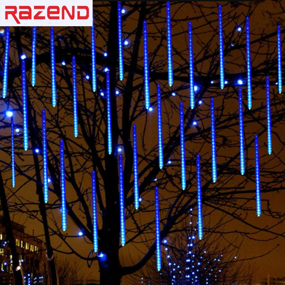 50 см 8 шт./компл. Метеоритный дождь Дождь пробка светодиодный Рождество Света Свадьба Garden Рождество свет шнура Открытый Праздничное освещение 100- 240 В