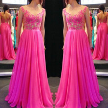 2015 New Arrival Long Prom Dresses Appliques Party Dresses O Neck Women Evening Dresses Lace Chiffon vestidos longo de festa цена