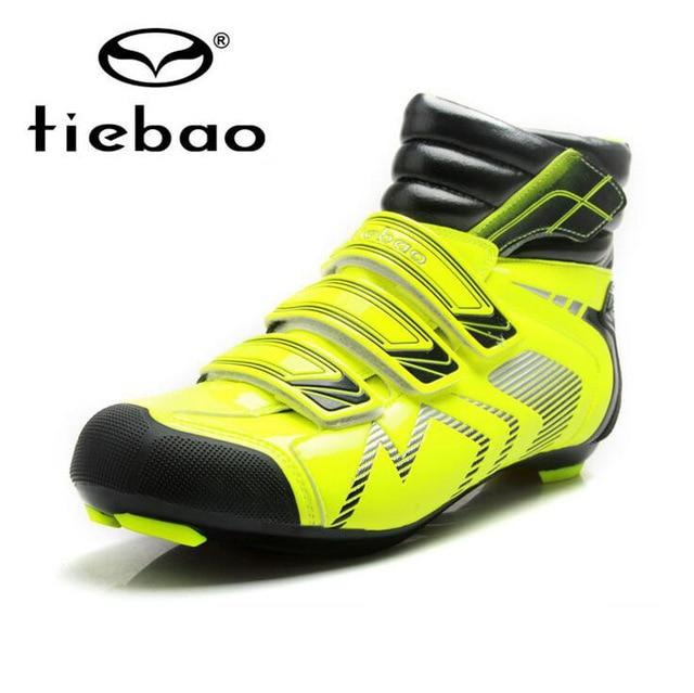 Tiebao Cycling font b Shoes b font Men Winter Windproof Road Bike Self Locking font b